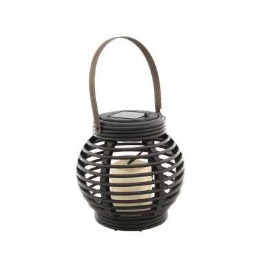 Buiten/tuin zwarte rotan lampionnen/hanglantaarns solar tuinverlichting