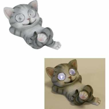 Led solar decoratie dieren beeld grijze poes/kat