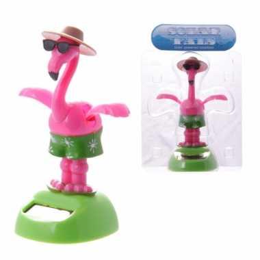 Roze solar flamingo dansend