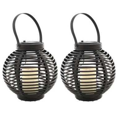 Set stuks buiten/tuin zwarte rotan lampionnen/hanglantaarns solar tuinverlichting