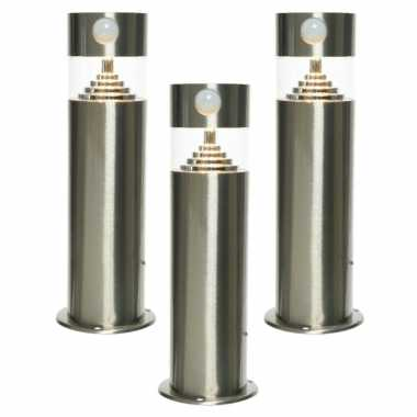 Set stuks solar tuinlamp/prikspot bewegingssensor cilinder zonne energie