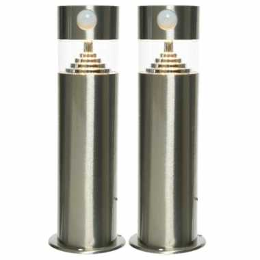 Set stuks solar tuinlampen/prikspots bewegingssensor cilinder zonne energie