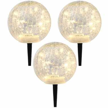 Set stuks solar tuinlampen/prikspots glazen craquele bol zonne energie