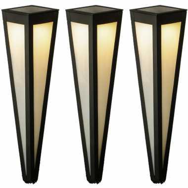Set stuks solar tuinlampen/prikspots pilaar zwart zonne energie