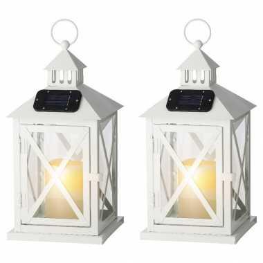Set stuks witte solar led licht lantaarns kaars