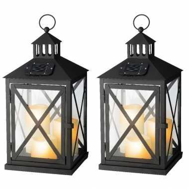 Set stuks zwarte solar led licht lantaarns kaarsen