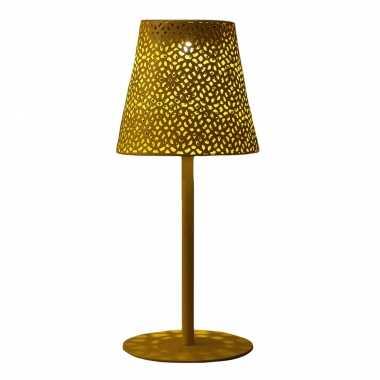 Solar tafellamp/schemerlamp goud metaal buiten