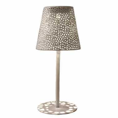 Solar tafellamp/schemerlamp wit metaal buiten