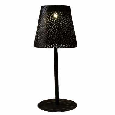 Solar tafellamp/schemerlamp zwart metaal buiten