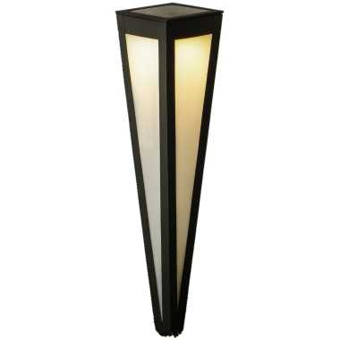 Solar tuinlamp/prikspot pilaar zwart zonne energie