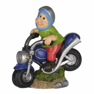 Tuinbeeld kabouter blauwe motorfiets led licht ,c m