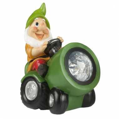 Tuinbeeld kabouter groene tracker led licht