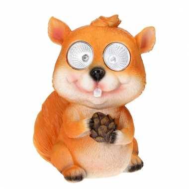 Tuinbeeldje eekhoorn led oogjes c m