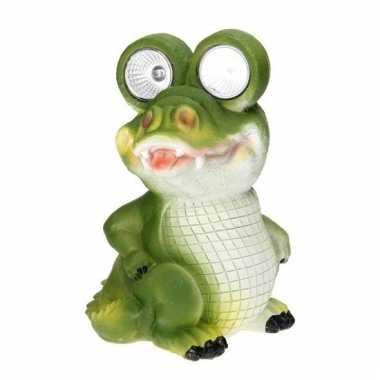 Tuinbeeldje krokodil led oogjes c m