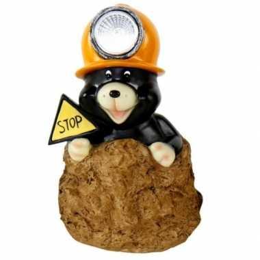 Tuindecoratie beeldje mol oranje helm mijnwerker