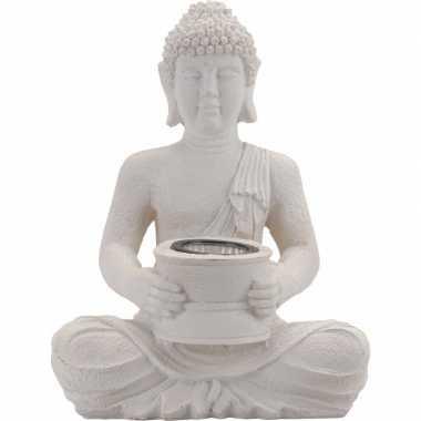 Tuinlampjes witte boeddha zonne energie