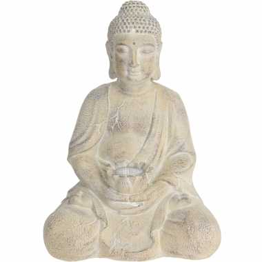 X boeddha tuinbeeld creme solar verlichting zonne energie