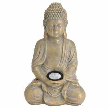 X boeddha tuinbeeld goud solar verlichting zonne energie