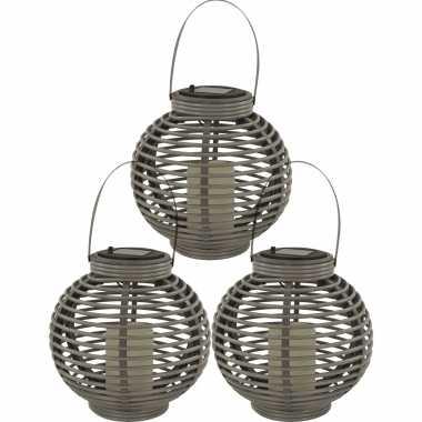 X buiten/tuin grijze rotan lampionnen/hanglantaarns solar tuinverlichting