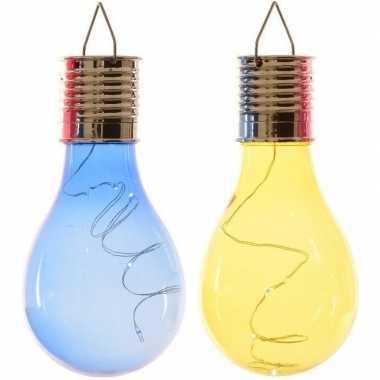 X solarlamp lampbolletjes/peertjes zonne energie blauw/geel
