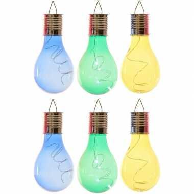 X solarlamp lampbolletjes/peertjes zonne energie blauw/groen/geel