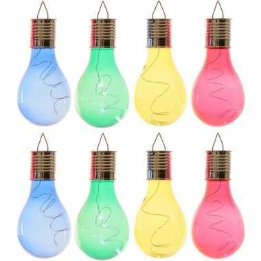 X solarlamp lampbolletjes/peertjes zonne energie blauw/groen/geel/rood
