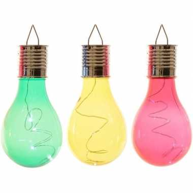 X solarlamp lampbolletjes/peertjes zonne energie groen/geel/rood