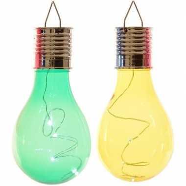 X solarlamp lampbolletjes/peertjes zonne energie groen/geel