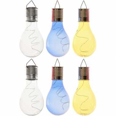 X solarlamp lampbolletjes/peertjes zonne energie transparant/blauw/geel