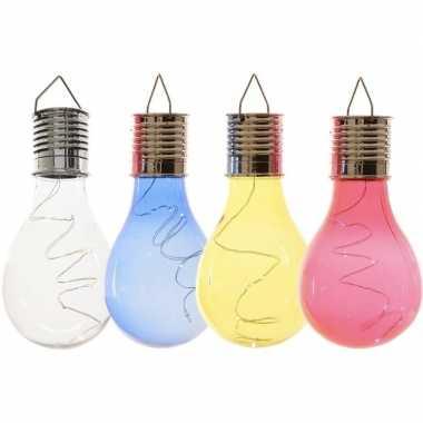X solarlamp lampbolletjes/peertjes zonne energie transparant/blauw/geel/rood
