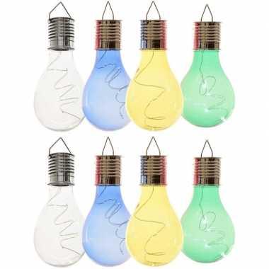 X solarlamp lampbolletjes/peertjes zonne energie transparant/blauw/groen/geel