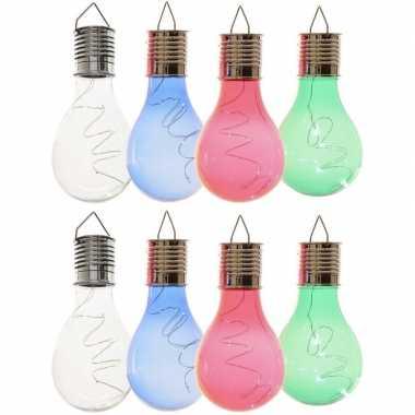 X solarlamp lampbolletjes/peertjes zonne energie transparant/blauw/groen/rood