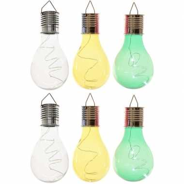 X solarlamp lampbolletjes/peertjes zonne energie transparant/groen/geel