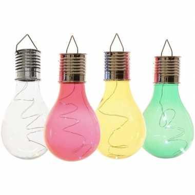 X solarlamp lampbolletjes/peertjes zonne energie transparant/groen/geel/rood