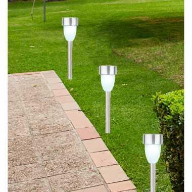 X solarlamp zonne energie zilveren steker