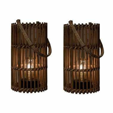 X stuks bruine solar lantaarns bamboe