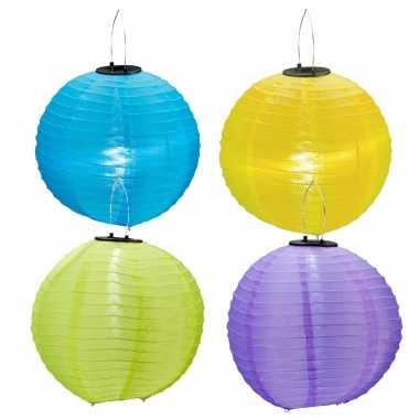 X stuks gekleurde buiten/tuin party solar lampionnen
