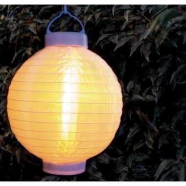 X stuks luxe solar lampion/lampionnen wit realistisch vlameffect