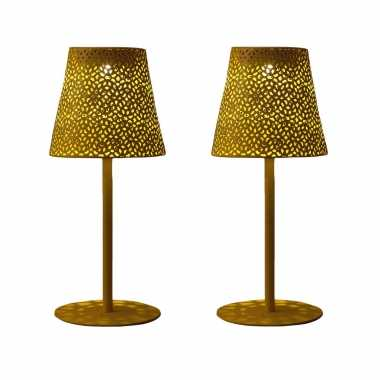 X stuks solar tafellamp/schemerlamp goud metaal buiten