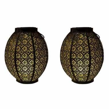 X stuks zwart/gouden solar lantaarns metaal