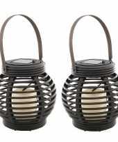 Set stuks buiten tuin zwarte rotan lampionnen hanglantaarns solar tuinverlichting 10263096