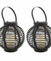 Set stuks buiten tuin zwarte rotan lampionnen hanglantaarns solar tuinverlichting 10263097