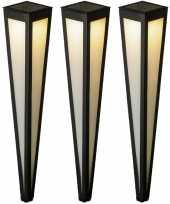 Set stuks solar tuinlampen prikspots pilaar zwart zonne energie 10276971