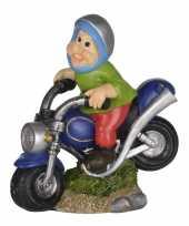 Tuinbeeld kabouter blauwe motorfiets led licht c m