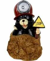 Tuindecoratie beeldje mol bruine helm mijnwerker