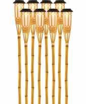 X solarlamp vlam fakkel bodi zonne energie bamboe houten steker pin 10173245