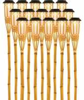 X solarlamp vlam fakkel bodi zonne energie bamboe houten steker pin 10173250