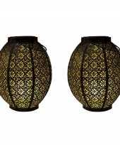 X stuks zwart gouden solar lantaarns metaal 10268518
